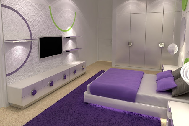DORMITORIO BLANCO Y MORADO PURPLE AND WHITE BEDROOM