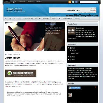 BlueCamp blogger template. template blogger magazine style template. template blogger with featured content slider
