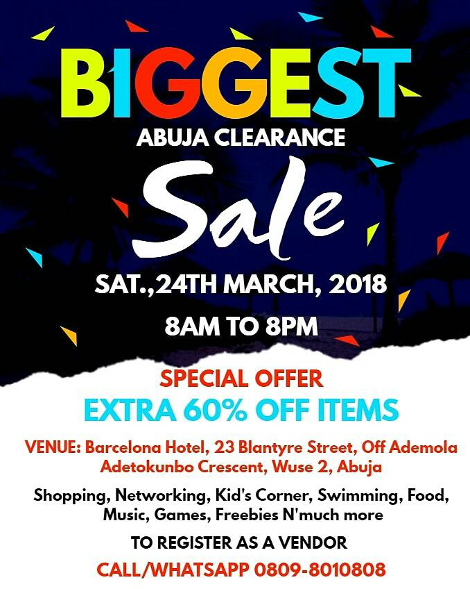 BIGGEST ABUJA CLEARANCE SALES