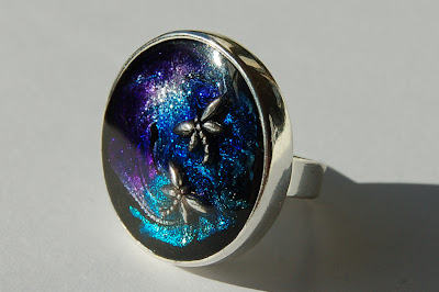 A ring and piece of jewellery made from nail polish, Kleancolor metallic Black, Metallic Purple, Metallic Aqua, Metallic Sapphire, Metallic White