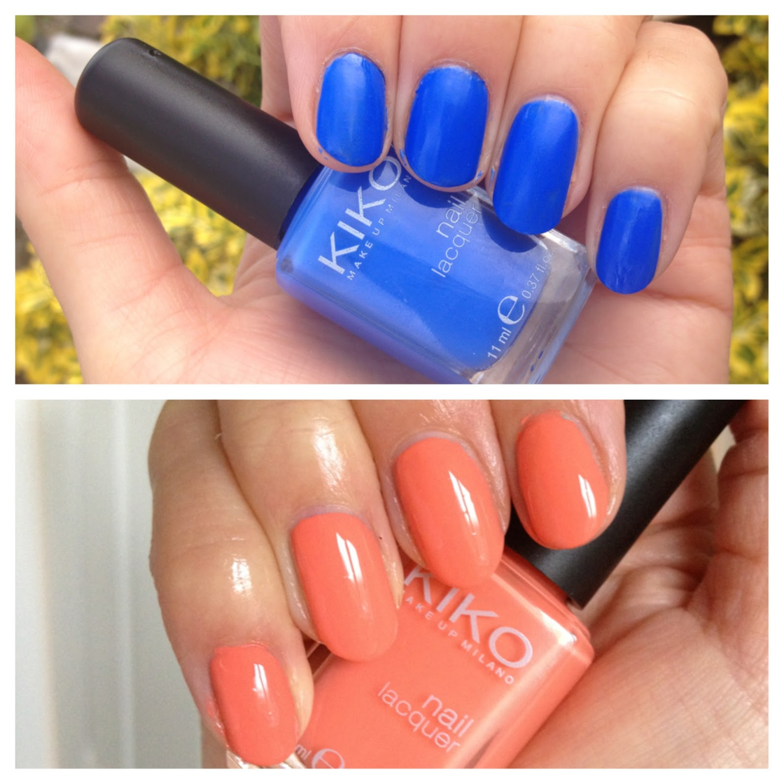 BEAUTY & LE CHIC: Kiko Nails 336 Electric Blue & 358 Peach Rose
