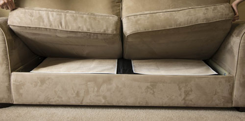 These are made of natural Eco-friendly rubber and will leave no residue or marks on your cushions.