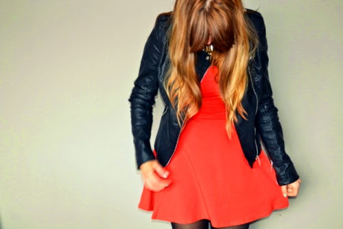 leather-jacket-orange-skater-dress