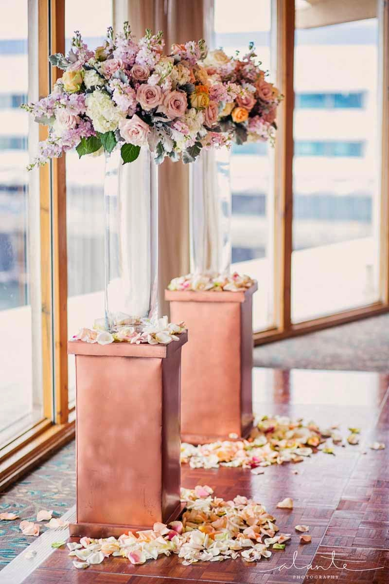 blush wedding ceremony flowers, Edgewater Hotel wedding