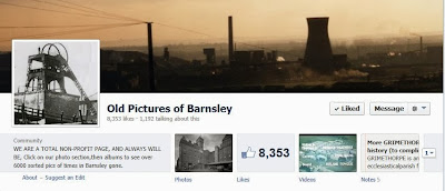 A screenshot of the Old Pictures of Barnsley Facebook page header, a pit head wheel, cooling tower and smoking chimneys