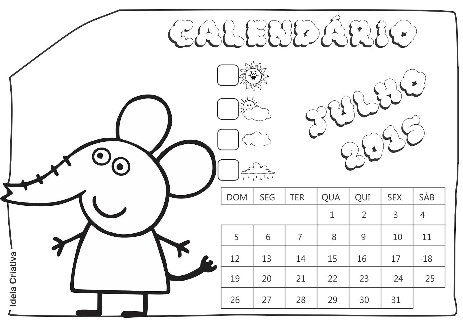 Calendário Julho 2015 Peppa Pig e Seus Amigos para Imprimir Grátis