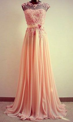 Gorgeous Lace Chiffon Floor-Length Prom Dress