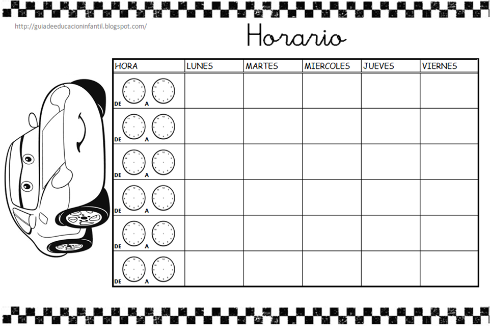 Plantillas de Horarios - Guía de Educación Infantil
