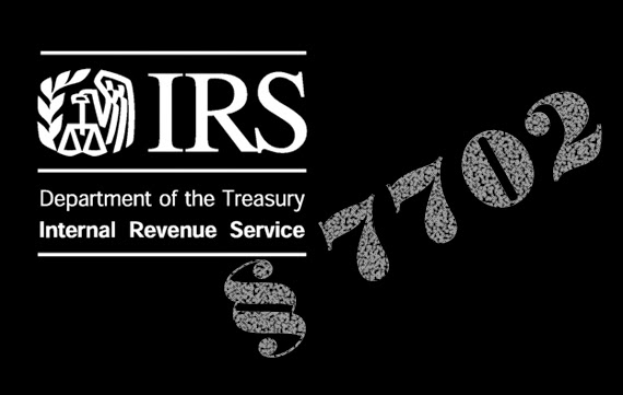 composite image in black background titled Section 7702 of the IRS code