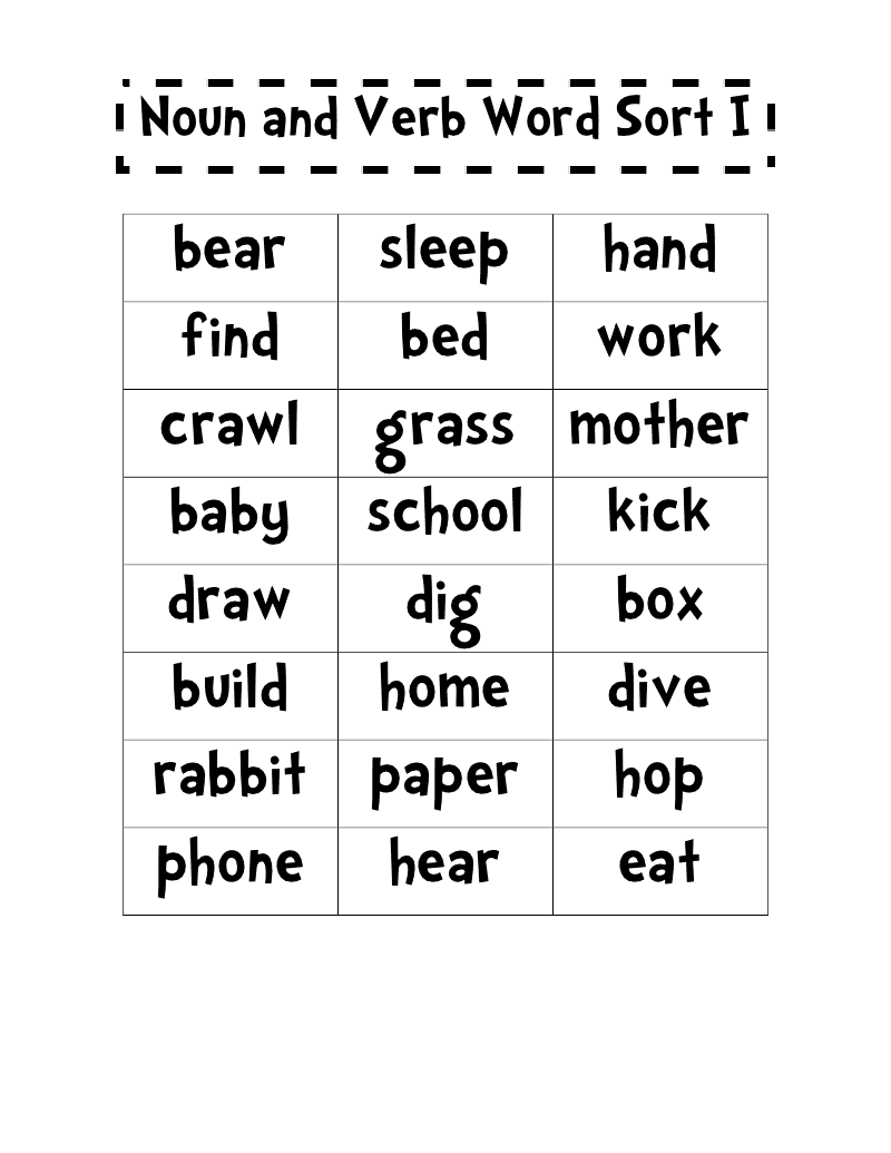 Worksheet Verbs 1st Grade first place in 2nd grade free noun and verb word sort sort