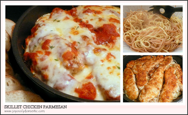 Joyously Domestic: Skillet Chicken Parmesan Over Pasta