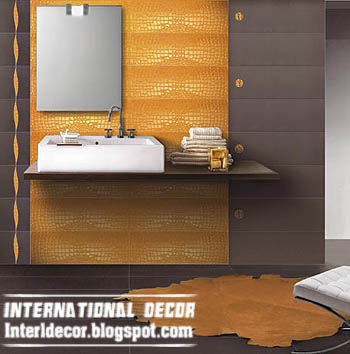 Interior design 2014 latest orange wall tiles designs for Latest bathroom tiles design