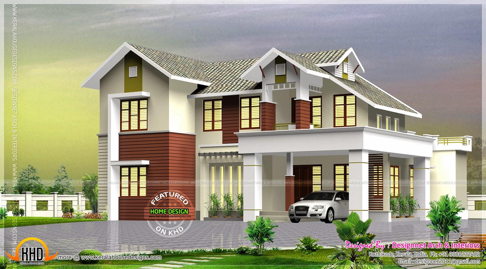 Villa exterior in 267 square yards kerala home design for Exterior design villa