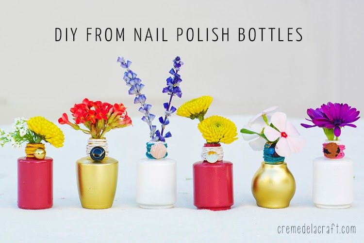 Diy Flower Bud Vases From Nail Polish Bottles