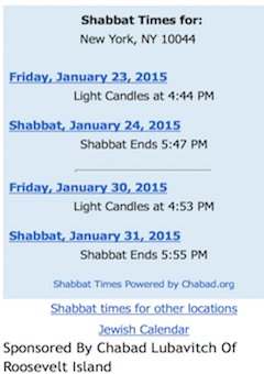 Roosevelt Island Shabbat Candle Lighting Time
