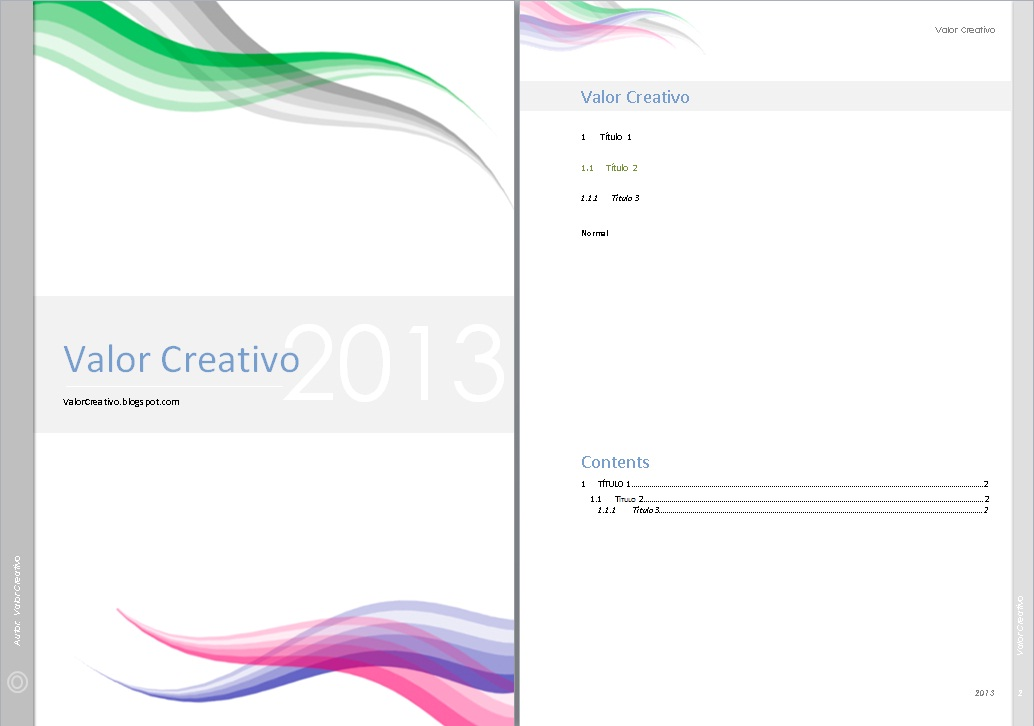 Valor Creativo: Plantilla Word 2003, 2007 y 2010 - Agosto 2013