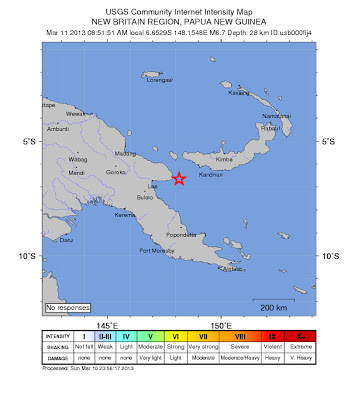TERREMOTO DE 6,7 GRADOS SACUDE PAPUA NUEVA GUINEA 10 DE MARZO 2013