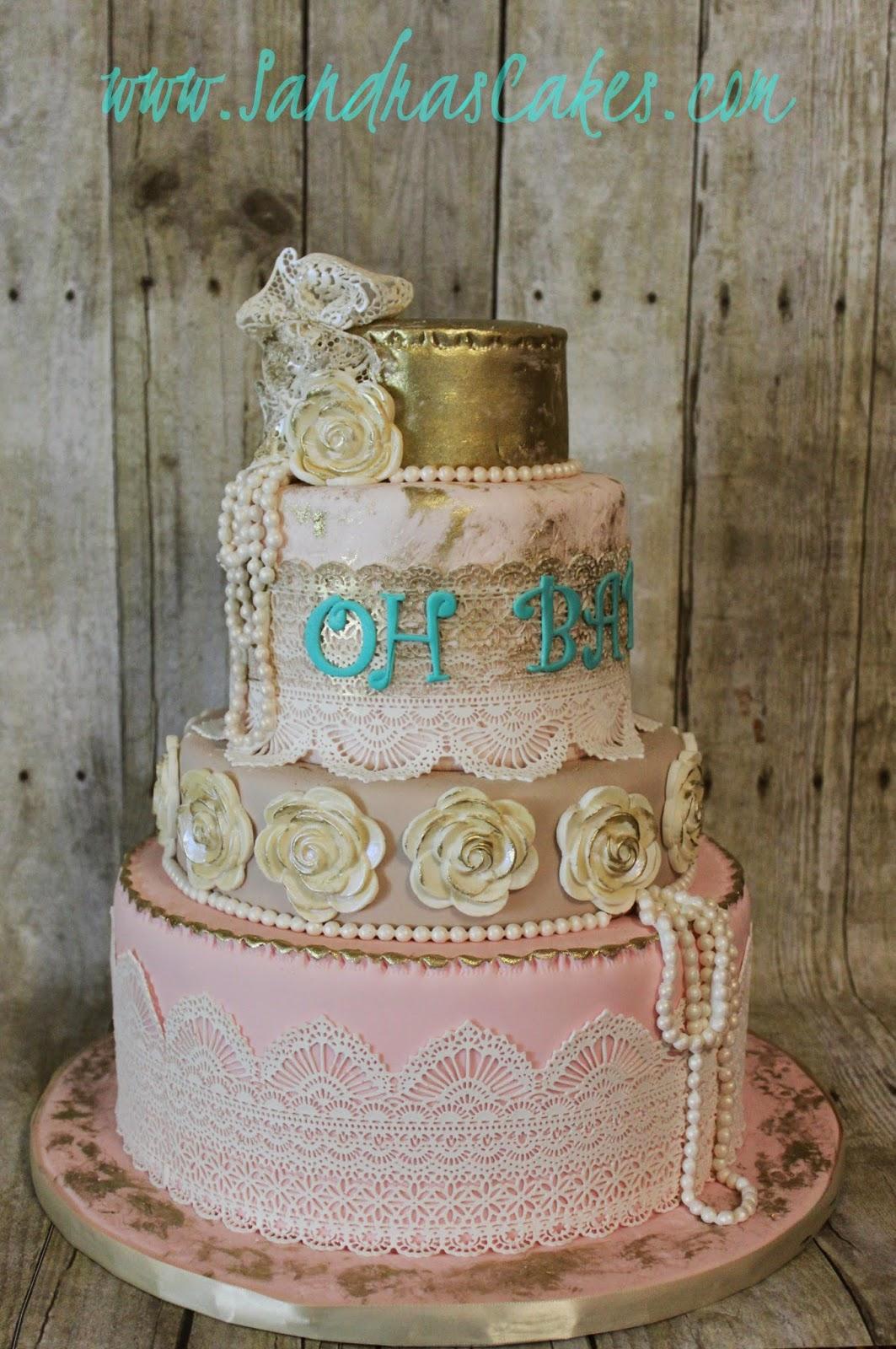Vintage Shabby Chic Baby Shower Cake