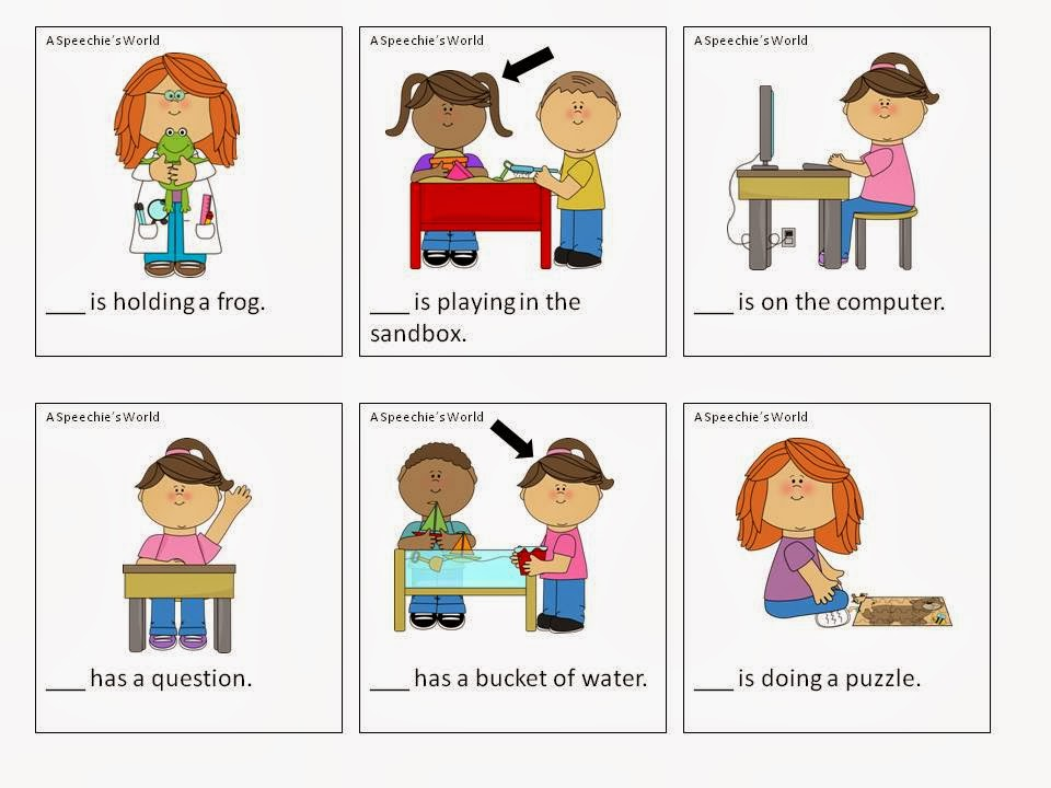 Students will fill in the blank using pronouns- he, she, or they.