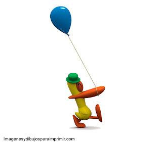 pato con un globo pato de pocoyo para imprimir