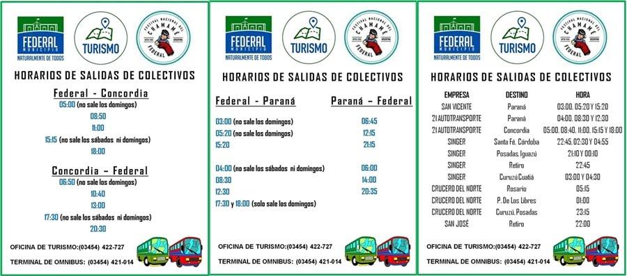 HORARIOS DE COLECTIVOS
