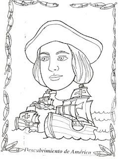 Dibujo de Cristobal Colon y sus Tres Carabelas