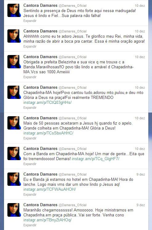 Cantora Damares Twitter Chapadinha-MA