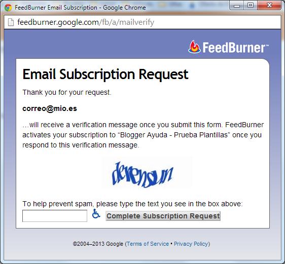 Petición de Captcha de FeedBurner