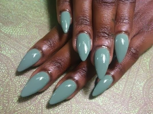 stilettos-african-Acrylic-Nails-GEL-COLOR-Manicure-French- - Set Of Stilettos Followed By A Gel-color In Truly Teal Nail Art