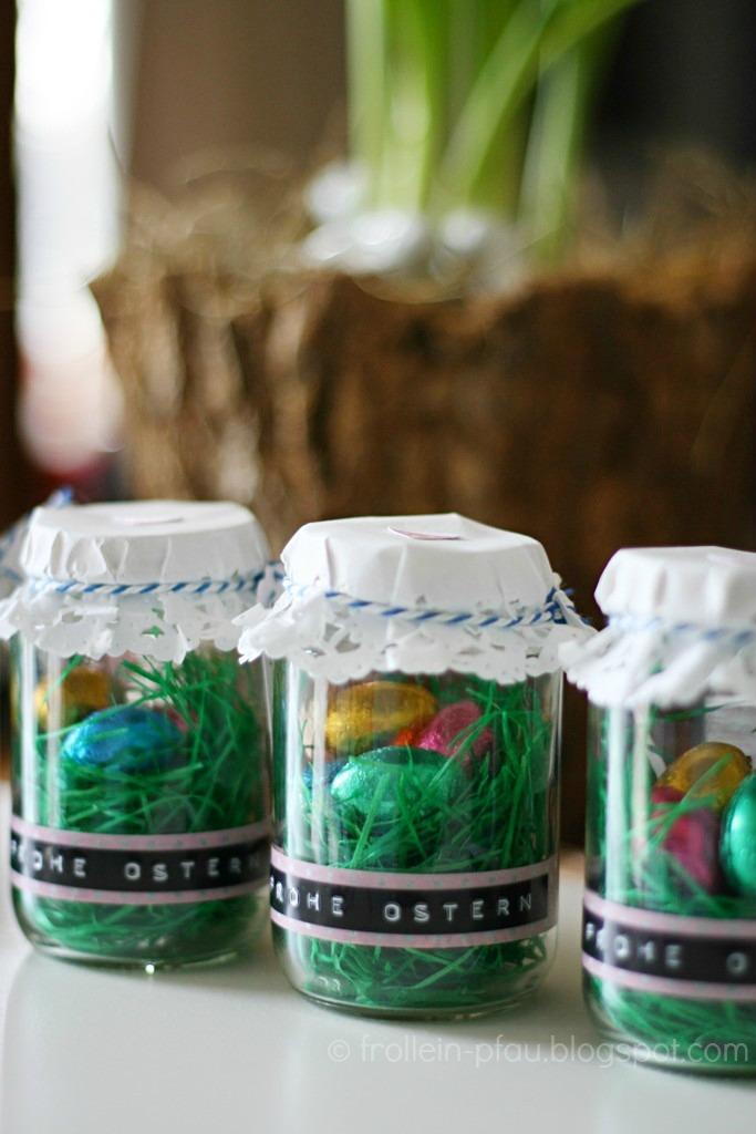 Osternest to go, Ostern, Ostergeschenk, DIY, selbstgemacht, kleines Osternest, Osterhase, Ostergras, Geschenk, Geschenk im Glas, Altglas
