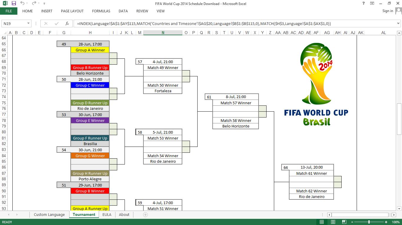 Jadwal Pertandingan Piala Dunia 2014 Format EXCEL