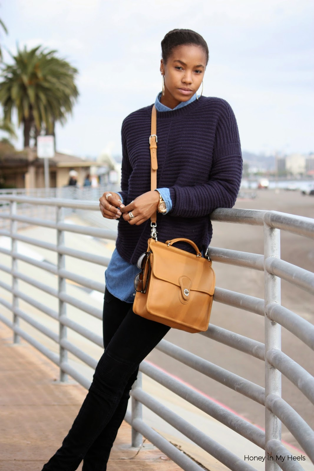 Wearing Max Studio knit sweater Thrifted denim shirt Coach Willis bag Vigoss jeans Nixon watch