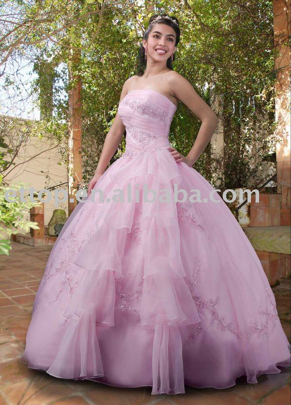Latest style sequin sweetheart chiffon high low prom party pink wedding dresses