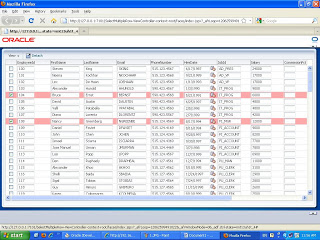 Adf use checkbox for selecting multiple rows from af table for Table th scope row