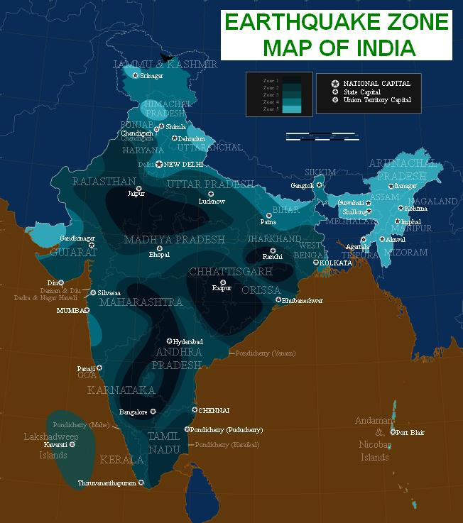 Earthquake Zone Map of India