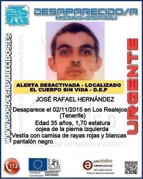 José Rafael Hernández, desaparecido en Los Realejos desde noviembre ha sido encontrado muerto