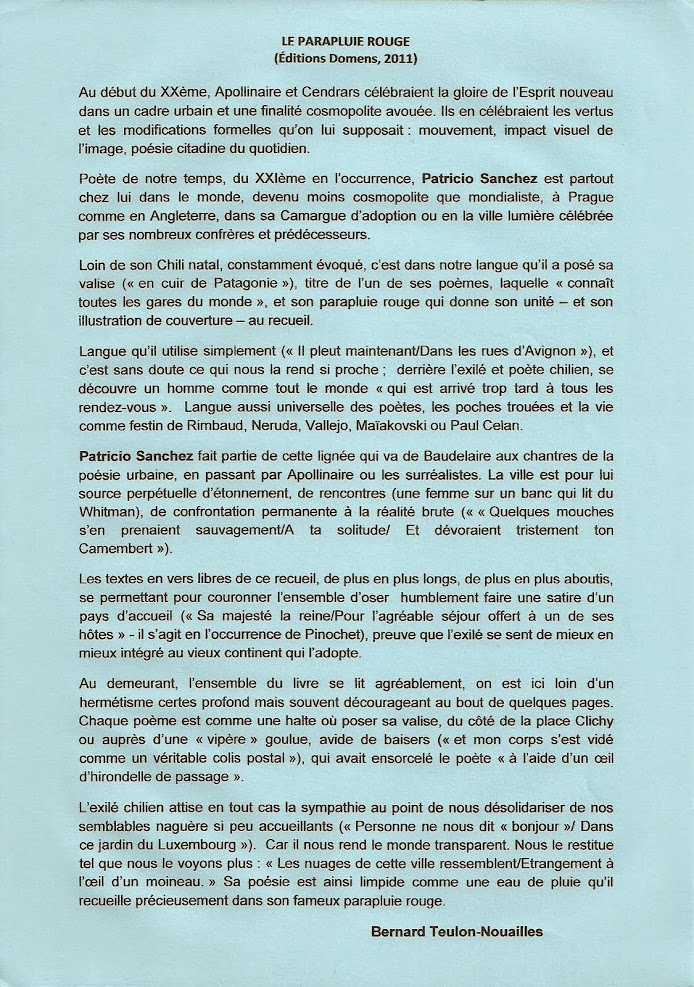Critique Bernard Teulon-Nouailles, Le Parapluie rouge de Patricio Sanchez, Domens 2011.