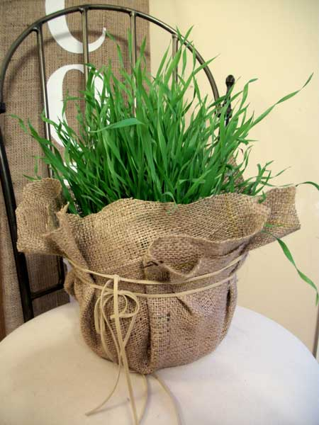church street designs burlap flower pots