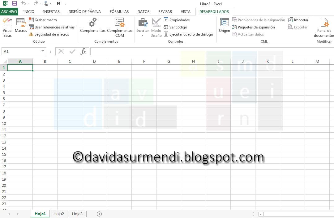 Ficha Desarrollador en Excel 2013