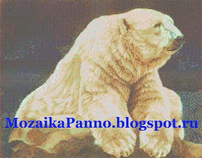 Мозаичное панно «Белый медведь». Размер мозаичной плитки — 10*10 мм.