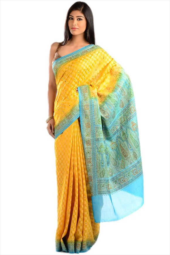 Vibrant Yellow Art Georgette Banarasi Saree