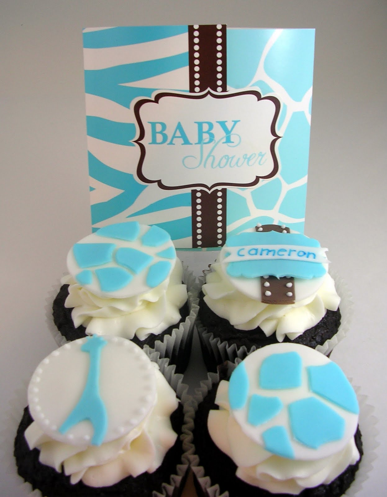nettlebasket cupcakes blue safari baby shower cupcakes