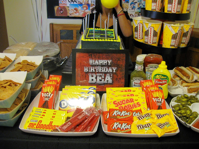 This is the dessert table for the party, we served food that can be found on the concession stands in the movie theaters.