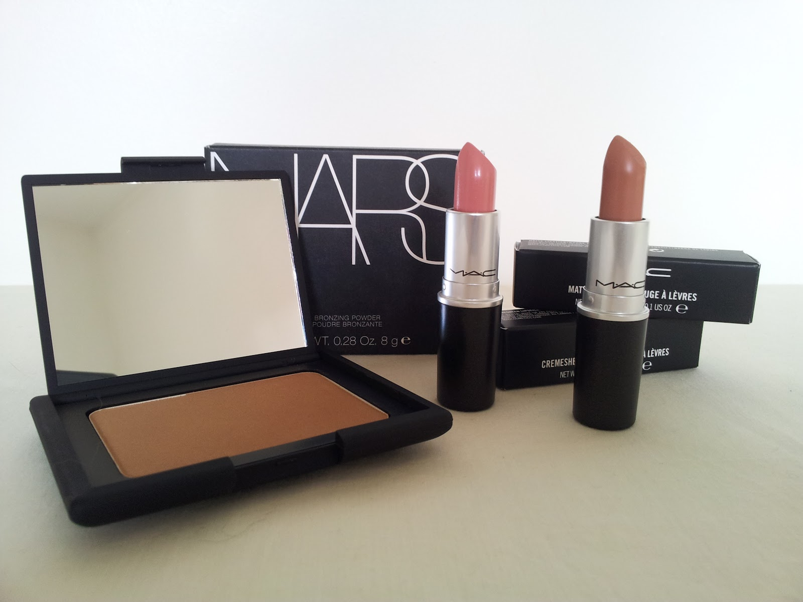 Nars Bronzer in Laguna, MAC Lipstick in Creme Cup, MAC Lipstick in Honeylove