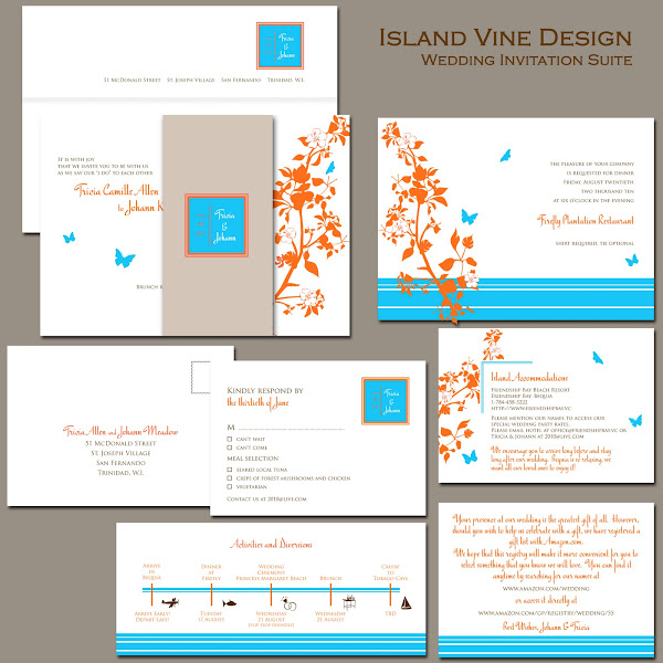 Island Vine Wedding Invitation Suite