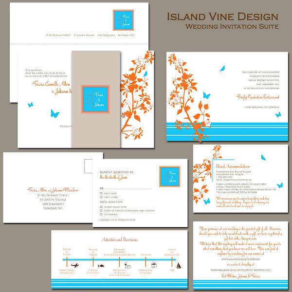 Island Vine Wedding Invitation Suite