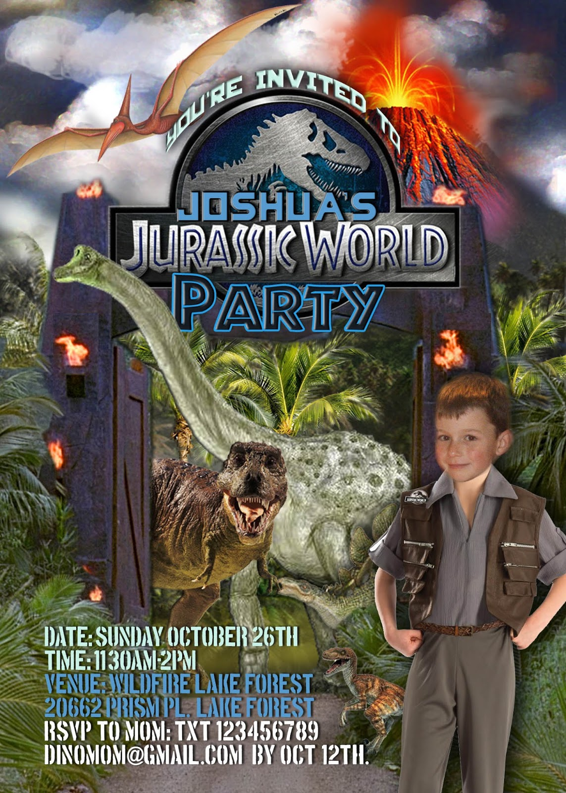 FREE Kids Party Invitations: Dinosaur Invitation