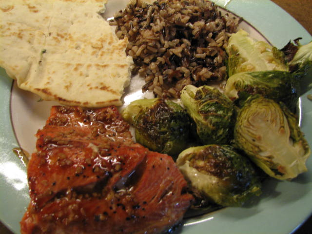 Hoisin-Glazed Salmon with Rice, Roasted Brussels Sprouts, Garlic Naan ...