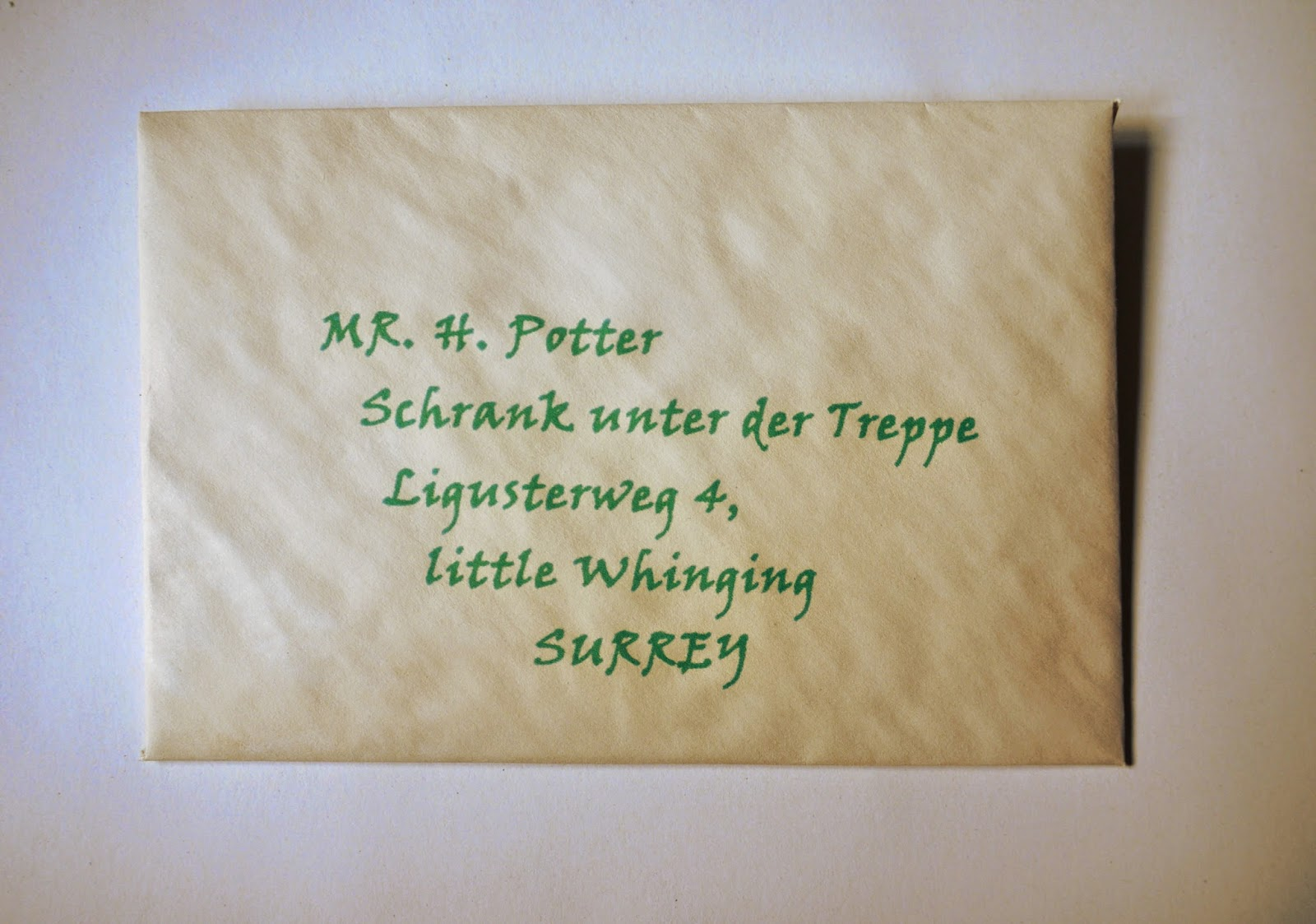 Harry Potter Brief Umschlag