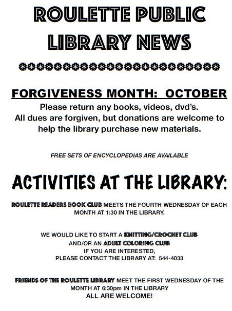 October- Roulette Library Forgiveness Month